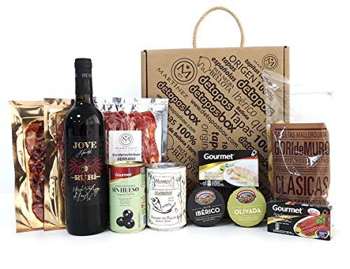 Geschenkbox mit Mallorquinischem Wein, detapasbox Mallorca. Geschenkset Mallorcafans mit Wein aus Binissalem