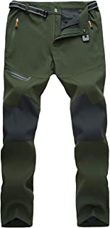 MAGCOMSEN Men's Winter Hiking Pants Water Resistant 4 Zip Pockets Reinforced Knees Thin and Thick Fleece Lined Ski Pants