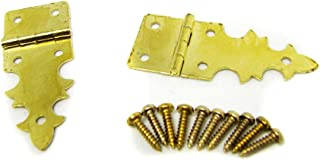 2pc. Gothic-Style Brass-Plated Box Hinges with Screws
