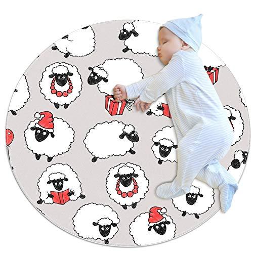 Alfombra redonda con diseño de ovejas de animales, para niños, juego de bebé, suave, para dormitorio, decoración de sala de juegos, alfombra para el hogar (70 x 70 cm)