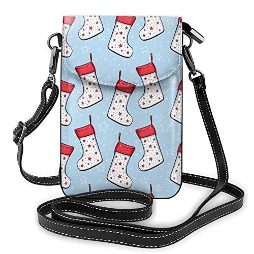 MSJS Calcetines de Navidad patrón Cross Body Bag Pequeño Teléfono Celular Bolso Casual Bolsas de Hombro Para Las Mujeres