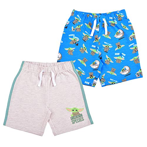 STAR WARS 2 Pack Shorts Set for Boys, Baby Yoda Printed Short Pants, Size 12M Beige