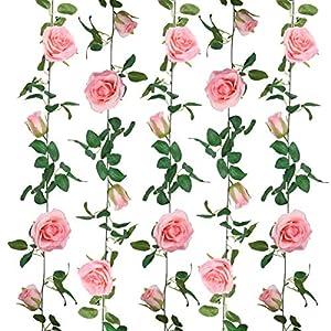 SHACOS 4 Pack Artificial Rose Garlands Rose Vines Leaves Hanging Rose Flower Vine Home Wedding Party Decor (Pink, 4)