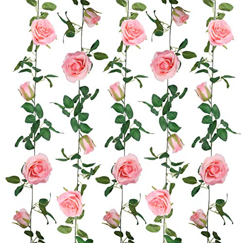 SHACOS 2 Pack Artificial Rose Garlands Rose Vines Leaves Hanging Rose Flower Vine Home Wedding Party Decor (Pink, 2)