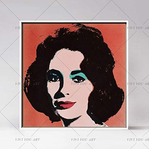WSLDYH Andy Warhol Marilyn Monroe 100% Handgemachte ölgemälde wandkunst Abbildung leinwand gemälde wandbilder Für Wohnzimmer Ungerahmt 90x90 cm Gelb