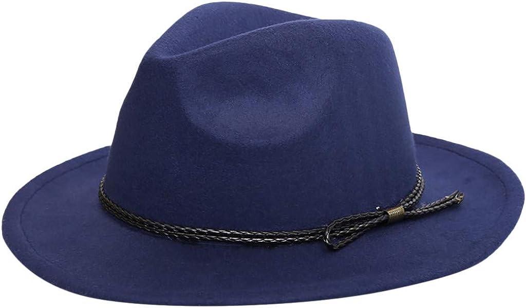 Women Belt Buckle Fedora Hat,Classic Wide Brim Floppy Panama Hat Crushable Wool Felt Outback Hat