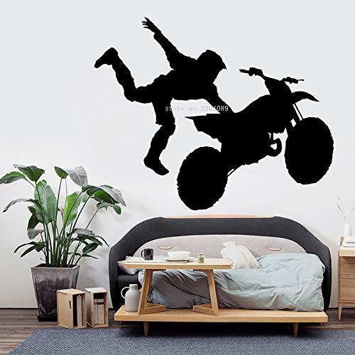 JXLLCD Truco de la Motocicleta Pegatinas de Pared Motocicleta Rally de Salto calcomanía Jinete Truco Deportes extraíble Sala de Estar Interior Arte Cartel 71x56 cm