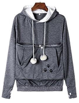 Sexyshine Women s Big Kangaroo Pouch Hoodie Pet Cat Dog Holder Carriers Pullover Sweatshirts DG,3XL  Deep Grey