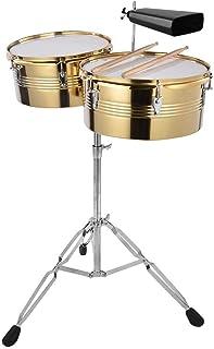 Instrumento de percusión, 1Pc Big Timbale Drum + 1Pc Small Timbale Drum With Cowbell Bracket para principiantes/jugadores/entusiastas de la música (dorado, plateado)(dorado)
