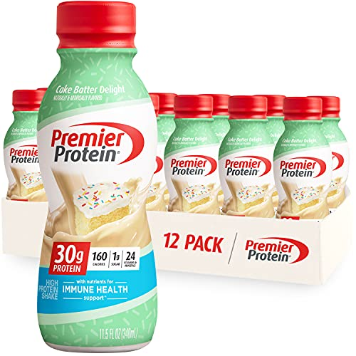 Premier Protein Shake, Cake Batter Delight, 30g Protein, 1g Sugar, 24 Vitamins & Minerals, Nutrients to Support Immune Health, 11.5 Fl Oz, 12 Count
