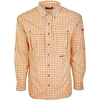 Drake Men s Featherlite Wingshooter s Quick-Drying Moisture-Wicking Long Sleeve Shirt Orange Plaid Large
