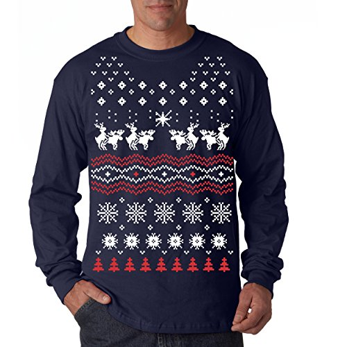 Crazy Dog T-Shirts Humping Moose Long Sleeve Ugly Christmas Sweater Funny Holiday Shirt (Blue) - XL