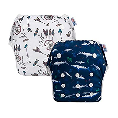 ALVABABY Baby Swim Diapers 2pcs Reuseable & Adjustable for Swimming Lesson & Baby Shower Gifts YK67-70