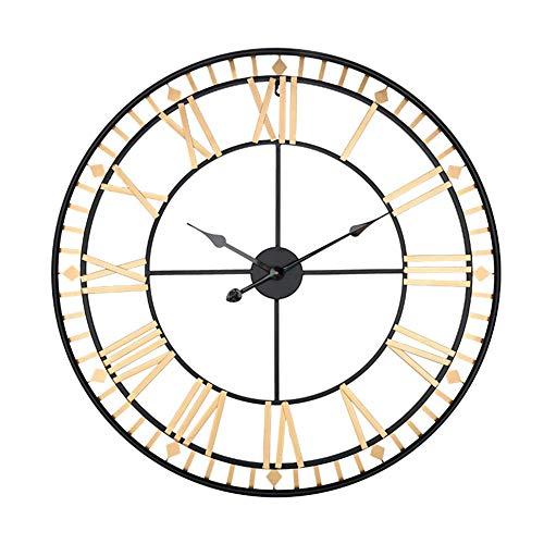 H-Clocks 80 cm Reloj de Pared de Gran tamaño, diseño Moderno Estilo Antiguo Europeo Romana oxidada Grandes Relojes de Hierro Reloj de Pared decoración de Arte,A,80CM