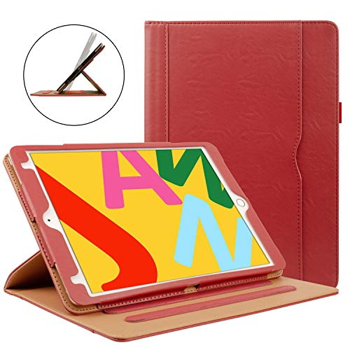 ZoneFoker iPad 6th/5th Generation 9.7 inch 2018/2017 Leather Case,Auto Sleep/Wake 360 Protection Multi-Angle Viewing Folio Stand Cases with Pencil Holder and Card Pocket - Red