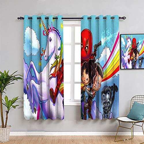 Elliot Dorothy Deadpool Cartoon Energieeffizienz Vorhänge Verdunkelungsvorhang für Kinderzimmer B 107 x L 137 cm