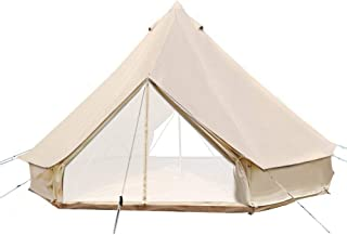 UNISTRENGH 4-Season Luxury 2 Doors Family Cotton Waterproof Bell Tents for Glamping Parties (13.1ft 16.4ft 19.7ft Dia. Size Options)