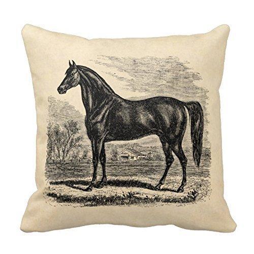 JHDHVRFr CBOutletArt Vintage 1800S Paard - Morgan Paardensport Sjabloon #004 Katoen Linnen Decoratieve Gooi Kussen Hoesje Kussen Cover 1818 inch