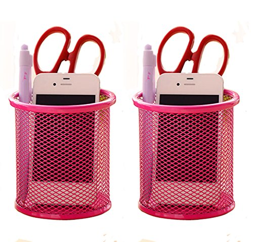 Elife 2 pcs Hot Pink Mesh Pen Pencil Collection Holder Sorter Desk Organizer