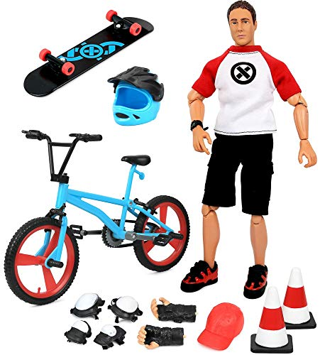 Click N' Play Sports & Adventure Bike & Skateboard 12' Action Figure Play Set with Accessories