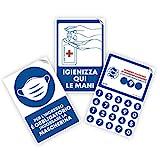 LARGE FORMAT Pack de 3 carteles de señalización adhesivos azules con reglas de seguridad para la entrada en tiendas, oficinas, supermercados y medicamentos – Tamaño 20 x 30 cm