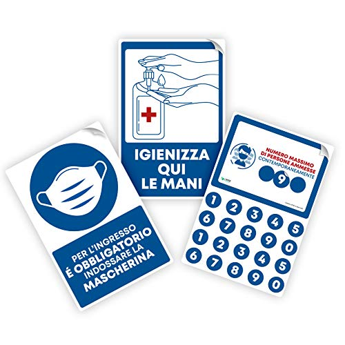 LARGE FORMAT Pack 3 Cartelli Segnaletici adesivi BLU con Regole di sicurezza per l ingresso in negozi, uffici, supermercati e farmacie - Dimensione 20x30 cm