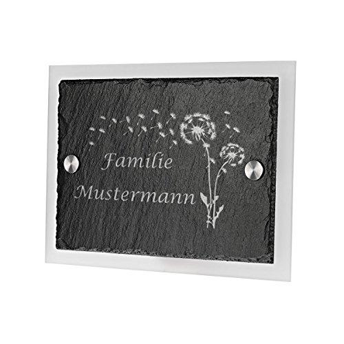 polar-effekt Personalisiertes Türschild mit Familien Name mit Gravur - Schiefertafel Geschenk zum Einzug, Geburtstag oder Weihnachten - Namensschild Schieferplatte - Motiv Pusteblume