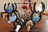 Horseshoe Wine Rack Holds 6 Bottles and 2 Glasses