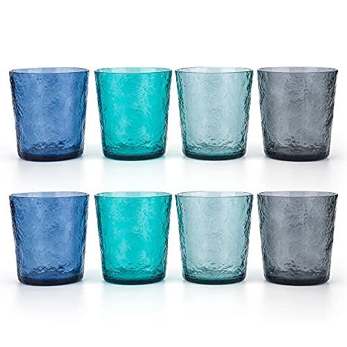 12-ounce Acrylic Old Flashion Glasses Plastic Tumblers, set of 8 Multicolor