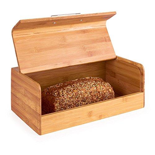 Klarstein Basket No. 9 - Brotkasten, Brotbox, massiver Bambus, klappbarer Deckel, 7 Liter, leichte Befüllung, Metallgriff, große Innenfläche, sichere Verwahrung von Backware, braun