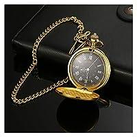 クラシックポケット時計ポーランドのネックレスのチェーンの男性女性のギフトを持つ石英ポケット時計宝石合金チェーンペンダントスムース (色 : ゴールド)
