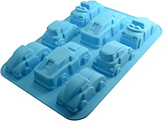 Allforhome(TM) 8 Cavity 3d Cars Cake Moulds Chocolate Soap Candle Muffin Cupcake Pan Bakeware Silicone Cake Baking Mold