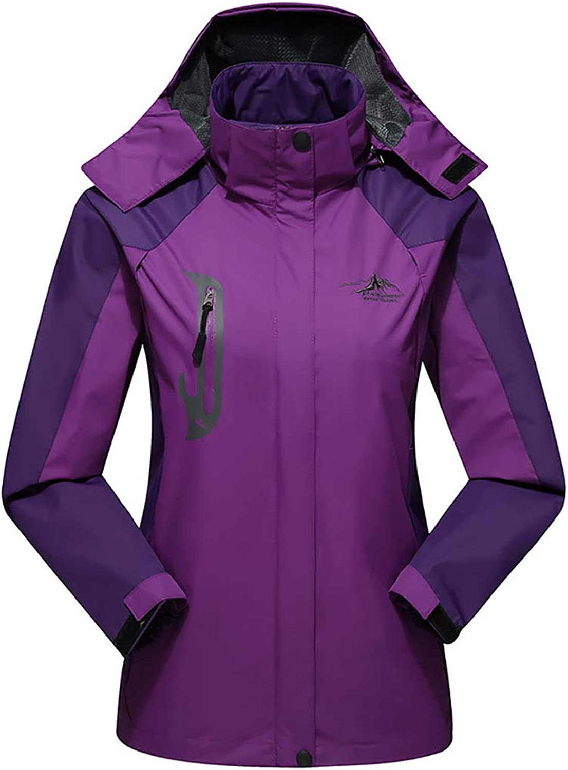 Woman's Outdoor Hooded Jacket Female Spring and Autumn SingleLayer Thin Mountaineering Clothes Windproof Waterproof Coat Removable Hood Size L4XL,Purple,XXXL