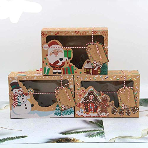 HONESFRIENWL 12 Pcs Cake Box,Christmas Cookie Boxes Packaging Kraft Paper Candy Boxes Storage Holders Gift Boxes for Holiday Thanksgiving Xmas Birthday Party Supplies with Tags