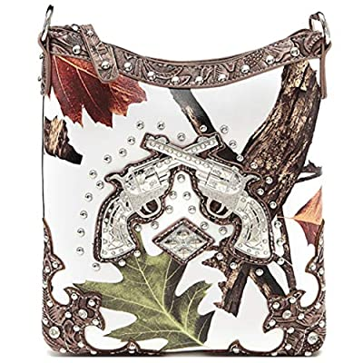 Western Style Camouflage Rhinestone Cross Pistol Women's Purse Cross Body Handbags Messenger Bags Brown