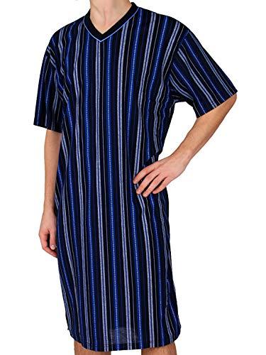 Classic Herrennachthemd, kurzarm, 100% Baumwolle, Blau,Dunkelblau, XL