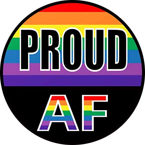 Gay Pride Proud AF Rainbow Bumper Sticker – LGBT-Q-IA Premium Vinyl Decal 3 x 3″ inch | for Cars Auto-mobiles Windows Bottles Helmets Mirrors + Better Than Magnets Outdoor Stripes Flag Circle Sign