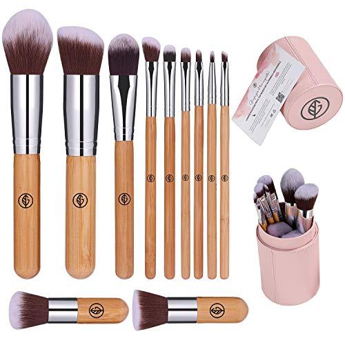 Pennelli Make Up Professionali, Pennelli Trucco, Pennelli Contouring, Con Custodia, Pennelli Bamboo, Brushs per Ombretto