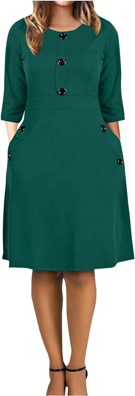 Women Vintage Princess Dress O-Neck 3/4 Sleeved Button Party Aline Swing Mini Dress