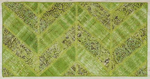 Alfombra turca de lana hecha a mano de patchwork verde 5384 Ölçü; 080x150
