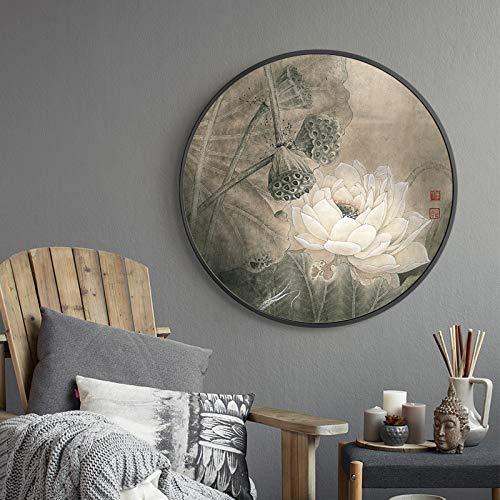 WSNDGWS Chinees landschap schilderijen, Huis Wit Canvas schilderijen, Geen fotolijst 60x60cm F5