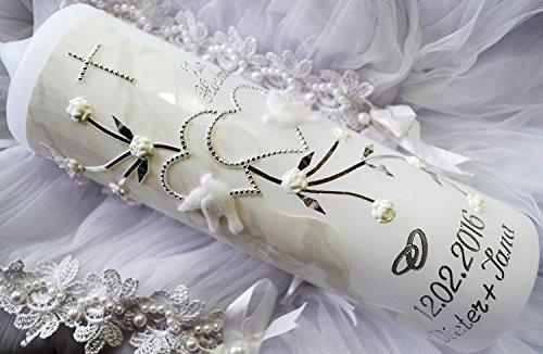 Hochzeitskerze 250/70 mm inkl. Zubehör für selbstbeschriften VH-044