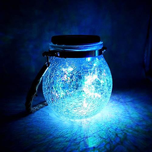 OMGPFR Luces de Jardín con Exterior Solar, Luz LED para Colgar Lámpara de Vidrio Artesanal Agrietado Impermeable Regalo Decoración al Aire Libre Linterna de Mesa por Navidad, Boda, Fiesta,Azul