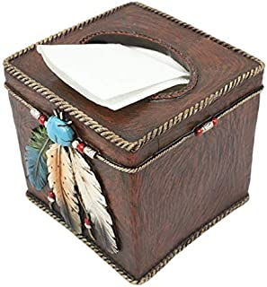 Ebros Southwestern Tribal Native American Indian 3 Feathers Turquoise Stone and Beads Dream Catcher Design Bathroom Vanity Accent Figurine Decor Accessories (Tissue Box Cover)