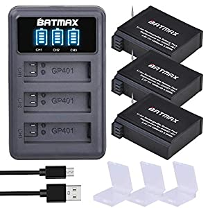 Batmax 3Packs 1500mAh Battery + LED 3Slots USB Charger for Original Gopro Hero 4 Batteries Go Pro Hero4 AHDBT 401 Action Camera Accessories