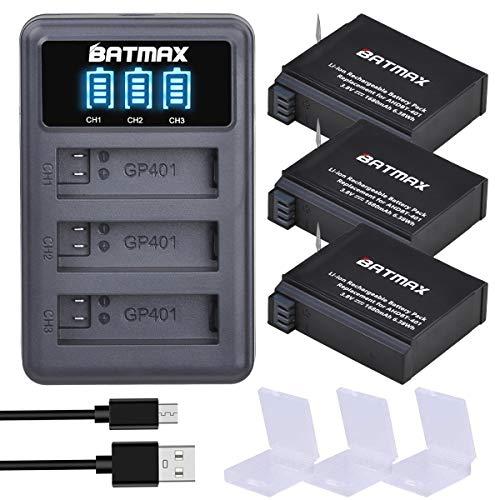 Batmax 3Packs AHDBT-401 1680mAh Battery + LED 3Slots USB Charger for Gopro Hero 4 Battery Go Pro Hero4 AHBBP-401 Action Camera Accessories