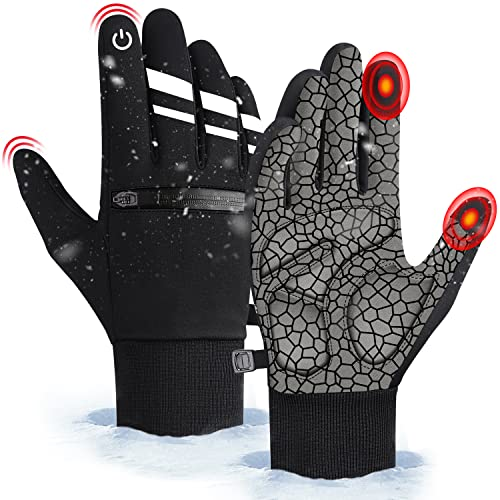 Winter Superwarme Fahrradhandschuhe, Stoßdämpfende Handpolsterung und Touchscreen Reflexstreifen Handschuhe, Herren Damen Winddichte und wasserdichte Handschuhe, zum Radfahren, Fahren, Laufen (M)
