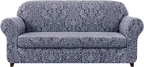FDQNDXF Stuhlbezüge 2-teilige universelle Sofabezüge, Jacquard Stretch Sofabezug Sesselbezüge 1 2 3 4-Sitzer Polyester Spandex Blumenmuster Anti-Rutsch-Couch Schonbezug für Haustiere (Grayi