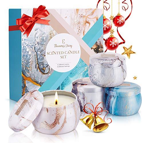 Duftkerze Set Geschenk Weihnachten Geschenk, Eleanore\'s Diary Natürliches Sojawachs Kerzen Set 4 Pack, Aroma Kerzen für Bad und Yoga, Duftkerzen Geschenksets für Frauen, Neujahrsgeschenke, Geburtstag