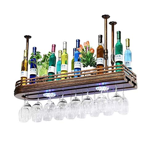 Estantería de vino Soporte de botella de metal colgante, soporte de vidrio y soporte de vidrio for colgar vino europeo hecho de hierro y madera estante de vino pequeño ( Size : 100*27*12cm )